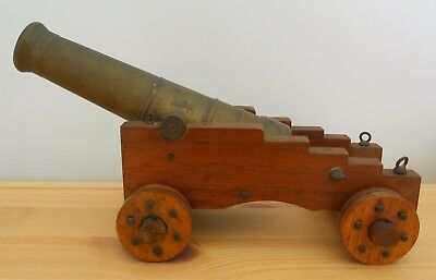 """Antique Vintage Model Military Cannon ~ Brass & Wood ~ 8"""" Long"""