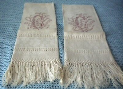 "Pr vintage white linen guest towels hand embroidery letter G redwork 19"" x 40""ea"