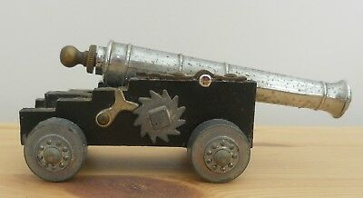 """Antique Vintage Model Military Cannon ~ Metal & Wood ~ 4.5"""" Long Italian"""