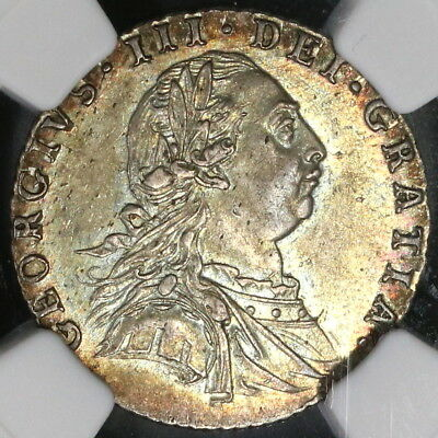 1787 NGC MS 62 George III Silver 6 Pence Hearts GREAT BRITAIN Coin (17091201CZ)