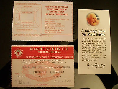Manchester United v Rep. of Ireland Xl Sir Matt busby ticket & personal message