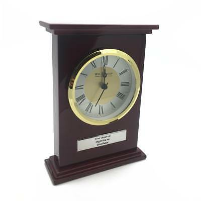 Personalised Piano Wood mantle clock with Roman Gold Bezel W2636-P