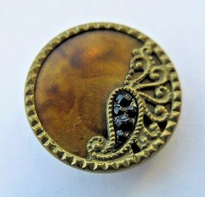 Beautiful Small Antique~ Vtg Metal & Celluloid BUTTON Black GLASS Paisley Design