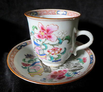 CHINESE Export PORCELAIN TEACUPS Pair ANTIQUE 19th CENTURY