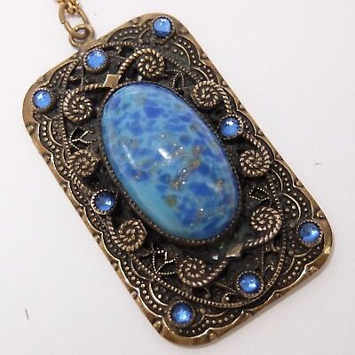 Antique Art Deco Gilt Brass Faux Lapis Czech Glass Rhinestone Pendant Necklace
