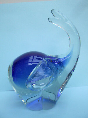 Beautiful ELEPHANT - Heavy Glass PaperWeight - Blue & Clear