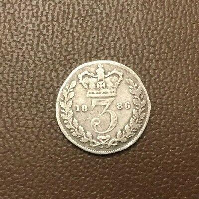 Dated 1886 GB QUEEN VICTORIA SILVER THREEPENCE COIN
