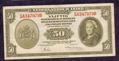 50 Gulden From Netherland Indies Colony From The Netherlands 1943 XF