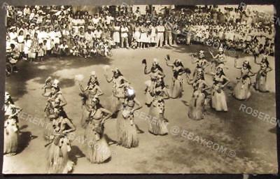 1959 Tahiti -  Tahitian Dance Bastille Day  - Cut down Real Photo Postcard