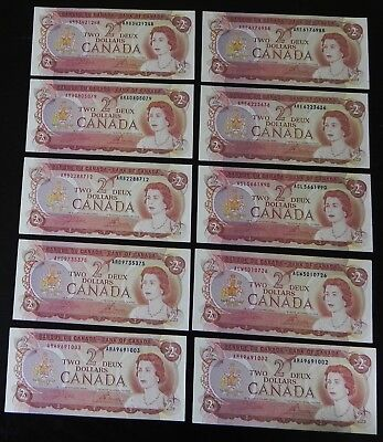 10x High Grade1974 Bank of Canada $2 Notes All AU & Better
