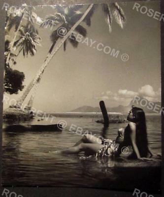 1959 Tahiti -  Tahitian Beauty in Nature Girl - Cut down Real Photo Postcard