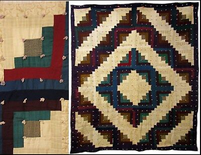 Antique Primitive Winter Weight SawTooth Wool/Suit Tied Quilt Coverlet Bedspread