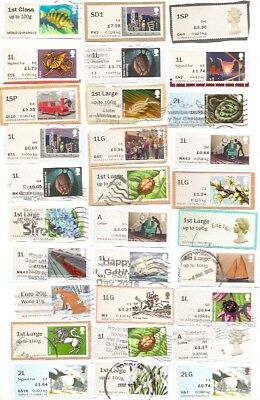 GB Post & Go Labels, rare high values: 2SP, 1SP, SD1, A, Europe, 1LG, 1L etc