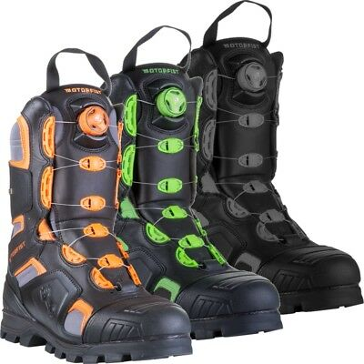 Motorfist Mens Alpha Boot Dual Boa System 800g Insulation - Orange Green Gray