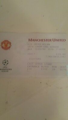 98/99 Manchester United v inter Milan  champions league quarter Final Ticket