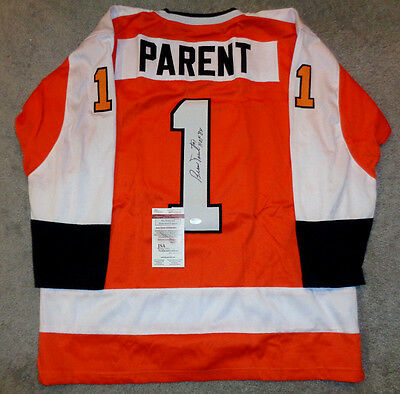 Bernie Parent Autographed Philidelphia Flyers Orange Style Jersey XL JSA COA+