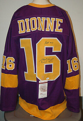 Marcel Dionne Los Angeles Kings Autographed Purple Jersey XL JSA Witnessed .+