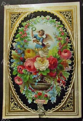 1850s pull tab opening Christmas Card - Embossed and die cut -  10cm by 7.5cm