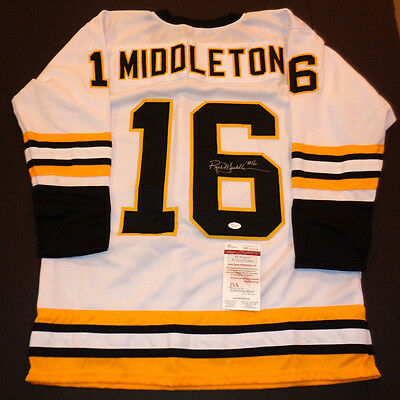 Rick Middleton Boston Bruins Autographed Signed White Style Jersey XL w/coa JSA=
