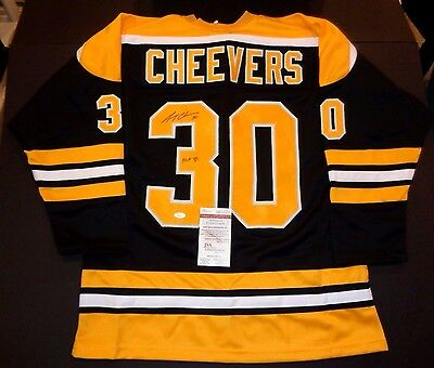 Gerry Cheevers Boston Bruins Autographed Black Style Jersey XL w/coa JSA;=