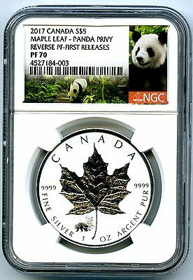 2017 $5 Canada 1Oz Silver Maple Leaf Ngc Pf70 Panda Privy Reverse Proof Pop=64