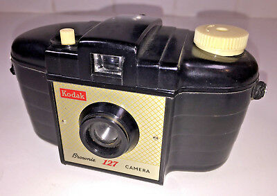 A vintage, UK-made Kodak Brownie 127 (first model) from 1950s, with case
