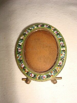 Oval Antique Italian Micro  Miniature Mosaic & Brass Picture Frame