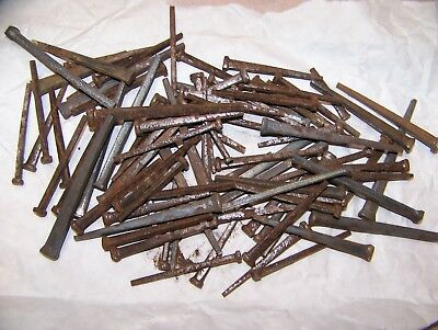 VIntage ANTIQUE IRON FLAT SQUARE HEAD NAILS just under 2 lbs