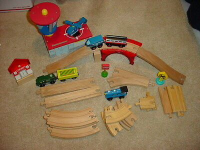 Wooden train tracks, Bridge, Trains, Heliport ~ Thomas, Brio compatible LOT