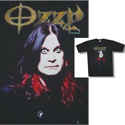 Ozzy Osbourne Face Pic/red Tips Blk T-Shirt Large New