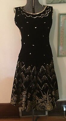Vintage Maya De Mexico Circle Skirt & Top Hand Painted Sequins 1950's