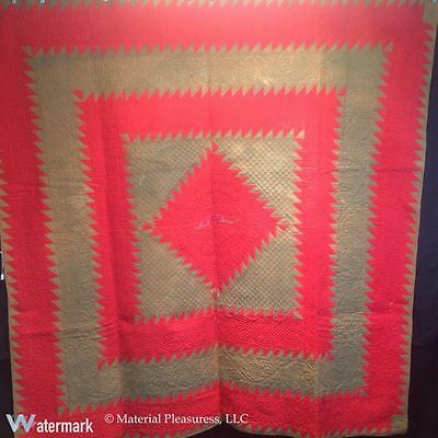 Antique Signed & Dated Mennonite Feathered Diamond Quilt 1887 from Annville, PA
