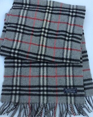 Burberrys of London Gray with black & red plaids wool scarf  made in Scotland