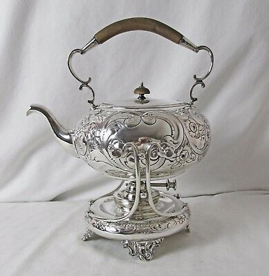 English Barker Ellis Silver Plated Tilt Or Spirit Kettle Repousse Design C:1906