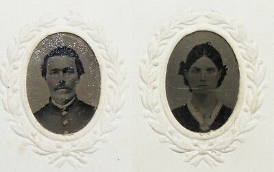 Original Civil War Gem Tintypes Of Federal Officer & Wife
