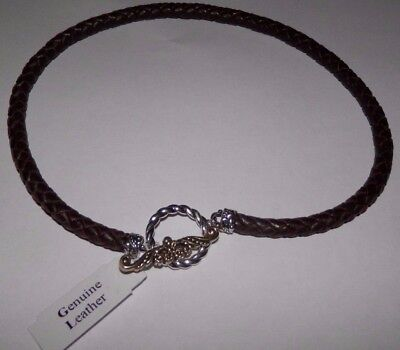 Carolyn Pollack American West Brass Toggle Braided Brown Leather Necklace
