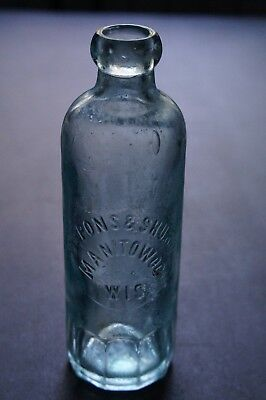 ANTIQUE PINT HUTCH SODA BOTTLE - DePONS & SHURR MANITOWOC WISCONSIN (RARE)
