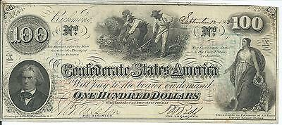 $100 CSA 1862 Confederate States CSA T-41 BankNote Slaves Hoe Cotton #11930