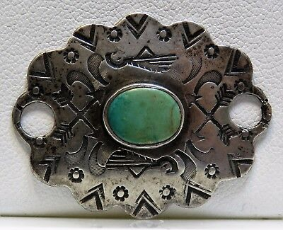 Old Fred Harvey Era Sterling Silver Green Turquoise Leather Bracelet Concho