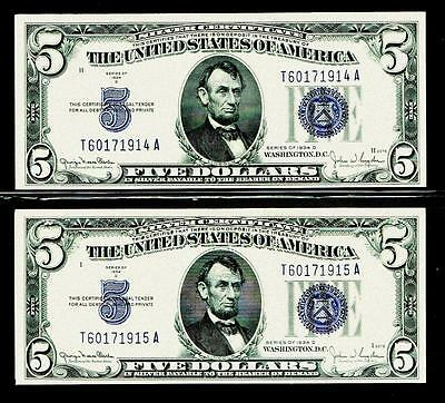 2 Consecutive 1934D $5  Silver Certificate Currency Note ~ Uncirculated~~