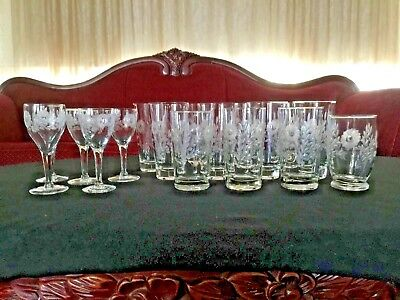 Lot 17 Vintage Etched Glass Stemware~Drinking Glasses Floral Design