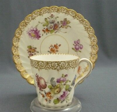 c1883-1893 Hand Painted DRESDEN Germany Translucent China Cup & Saucer Duo Set