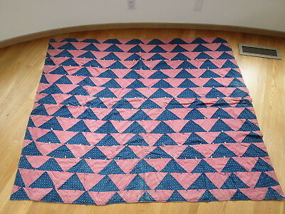Early One! Indigo Blue &  Pink ANTIQUE triangles circa 1900 +/-  QUILT