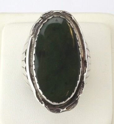 Signed AK Sterling Silver 925 Green Hardstone American Indian Mens Ring Sz 8 LZO