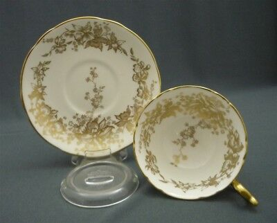 Wide Coalport England Bone China GOLD on White Flowers Teacup & Saucer Duo Set
