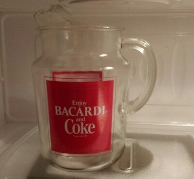 Vintage Coca Cola Coke Bacardi Rum Advertising Glass Kitchen Bar Serving Pitcher