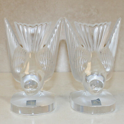 "Lalique Crystal Figurines and Paperweights , Swallow Bookends (Pair), 6.5""H - $"