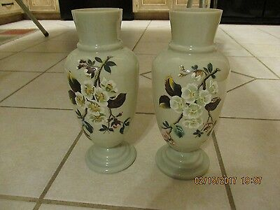 Vintage Bristol Vases Blown Glass Gray Green Flowers Floral White Dogwood