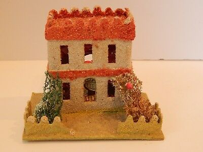 Vintage Christmas Village Cardboard Coconut Putz House Loofah Trees #2