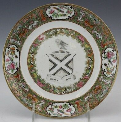Antique Chinese Export Famille Rose Bat Border Armorial Porcelain Plate Dish NR